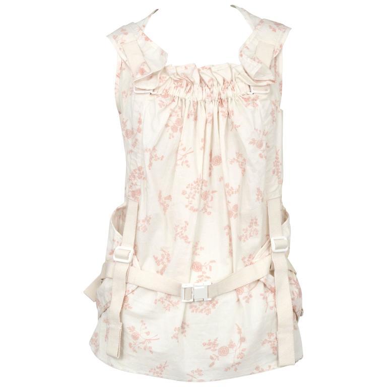 Junya Watanabe Pink & White Floral Parachute Top 2003 1