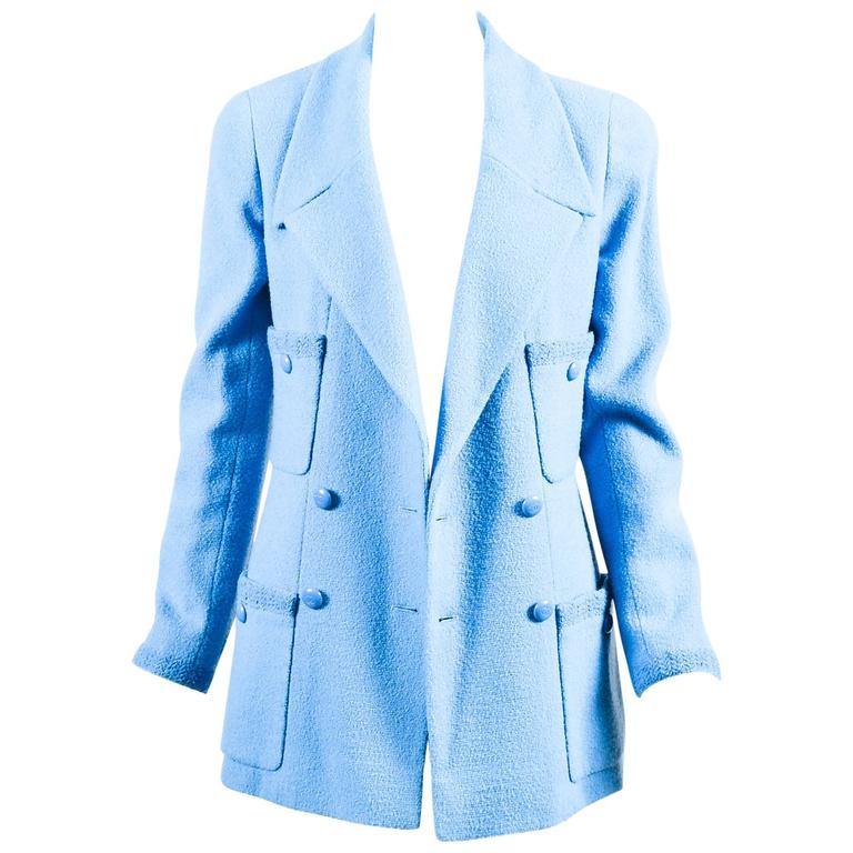 Chanel Boutique Baby Blue Wool Double Breasted Four Pocket LS Jacket SZ 40 1