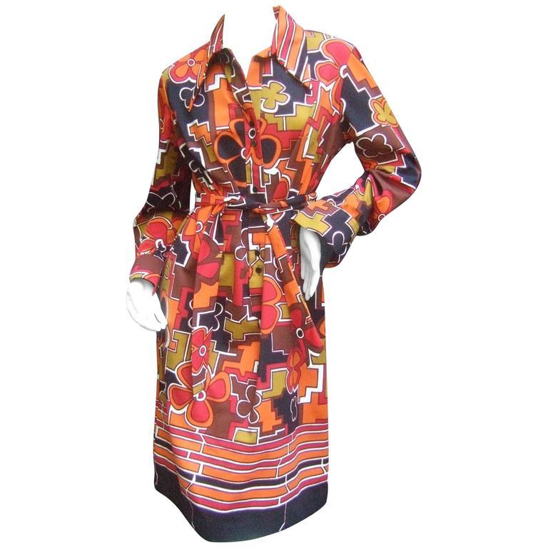 Lanvin Mod Op Art Print Shirt Dress c 1970 For Sale