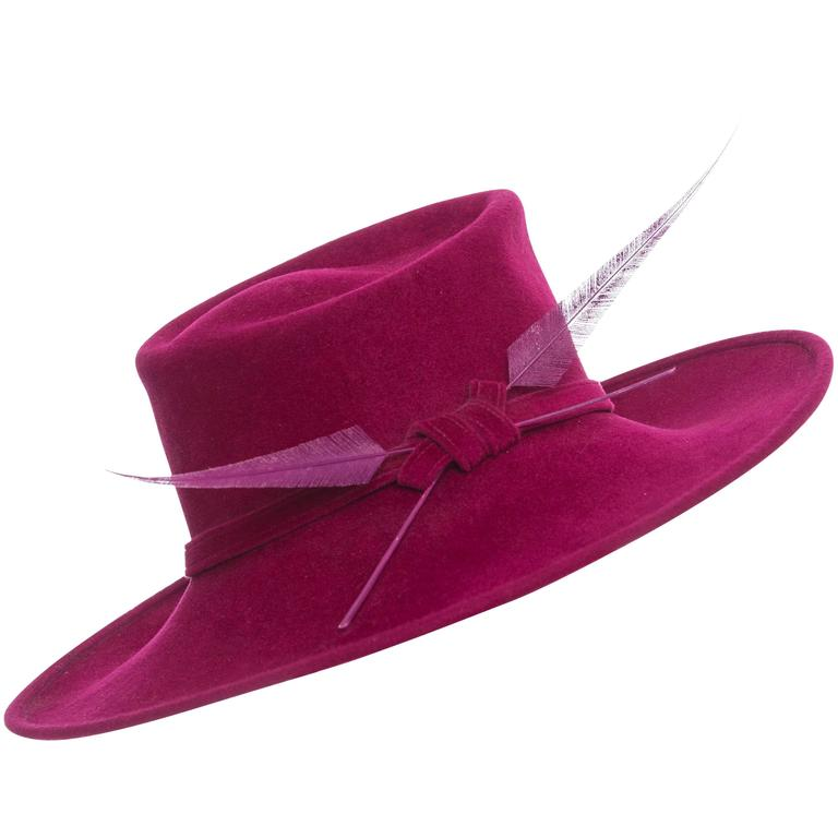 Philip Treacy Wool Felt Dress Hat With Feather Detail 1