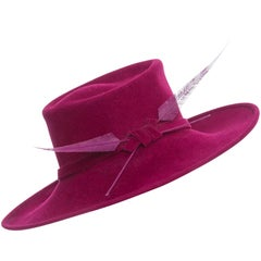 Philip Treacy Wool Felt Dress Hat With Feather Detail