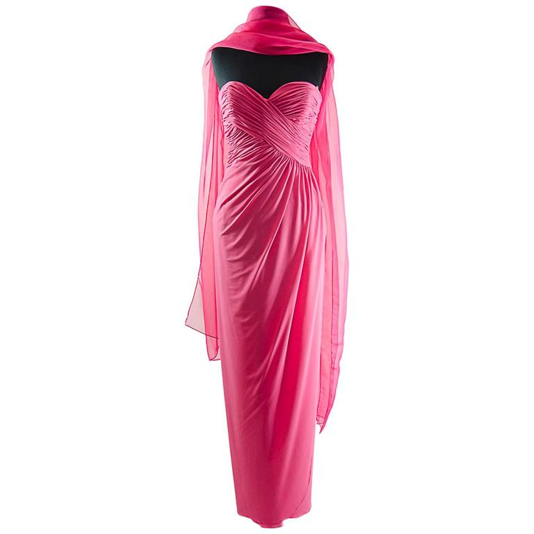 Victor Costa Beautiful Hollywood  glamor strapless pink gown with long shawl 1