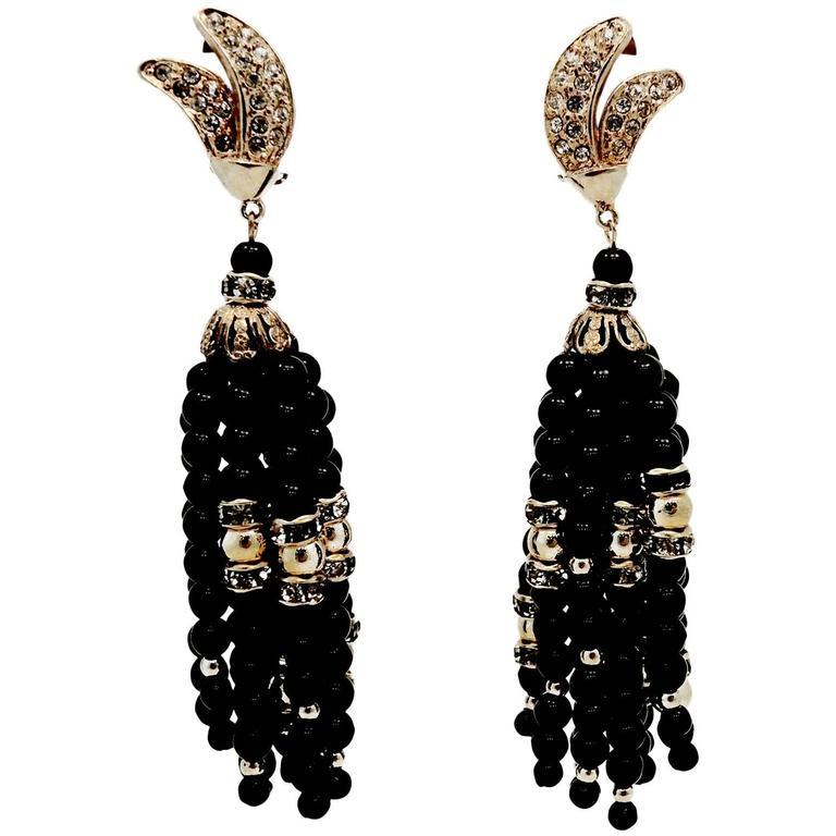 Vintage Long Black Bead & Crystal Tassel Earrings 1