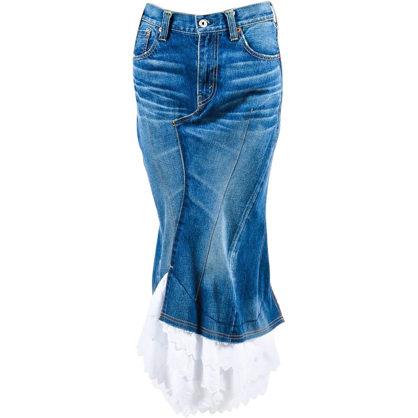 junya watanabe comme des garcons blue white denim ruffle