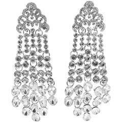 Kenneth Jay Lane Long Clear Crystal Drop Earrings