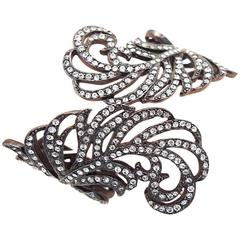 Kenneth Jay Lane Rhinestone Clamper Leaf Bracelet