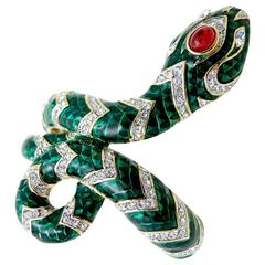 Kenneth Jay Lane Green Enamel Serpent Bracelet