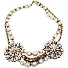 Vintage 1940s Miriam Haskell Double Medallion Faux Baroque Pearl Necklace