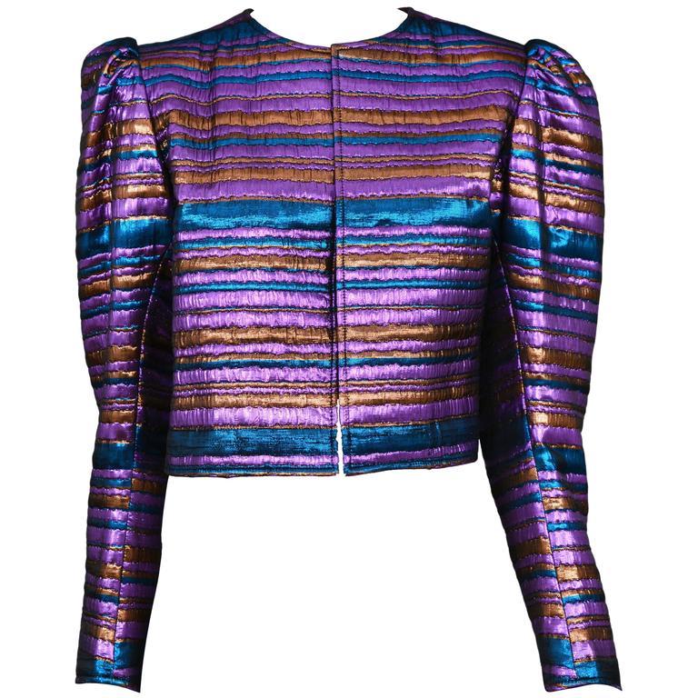 Yves Saint Laurent Metallic Purple & Blue Jacket For Sale