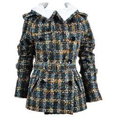 Junya Watanabe Comme des Garcons Multicolor White Wool Tweed Belted Coat SZ M