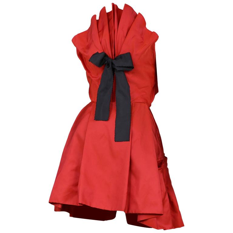 Christian Lacroix Red Taffeta Bow Dress For Sale