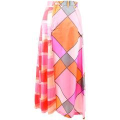 Tricot Comme des Garcons Pink Multicolor Asymmetrical Printed A Line Skirt SZ M