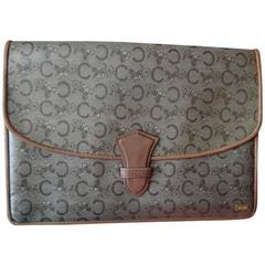 Vintage CELINE brown beige traditional C and horse and carriage pattern clutch