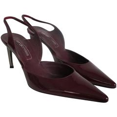 sergio rossi red bordeaux slingback patent leather pump