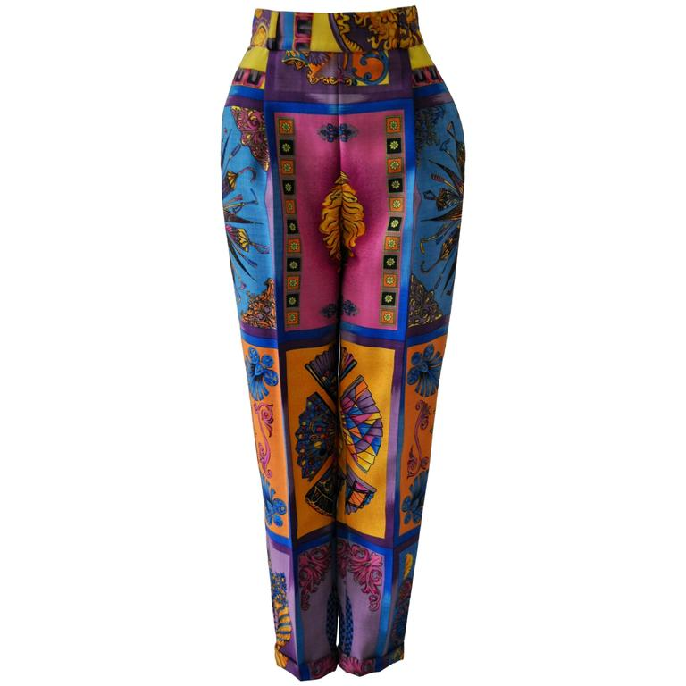 Iconoclastic Gianni Versace Medusa Pop Print High Waisted Pants For Sale