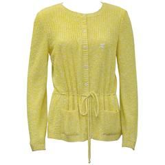 1970's Courreges Yellow Cotton Cardigan