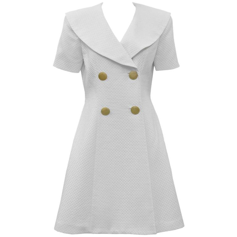 1980's Scaasi White Pique Double Breasted Dress