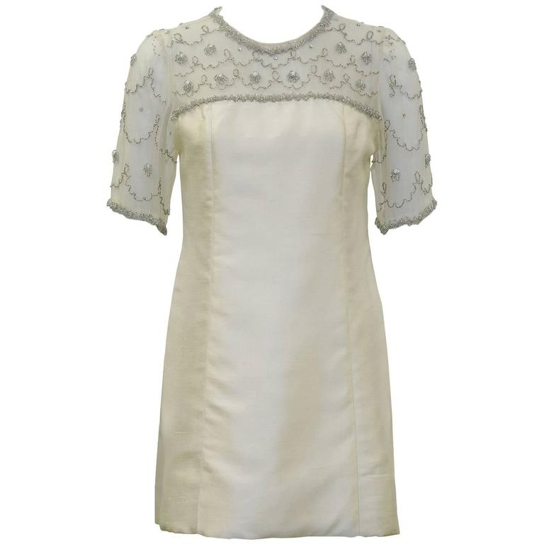 1960's Cream Mini Dress with Sheer Beaded Panel