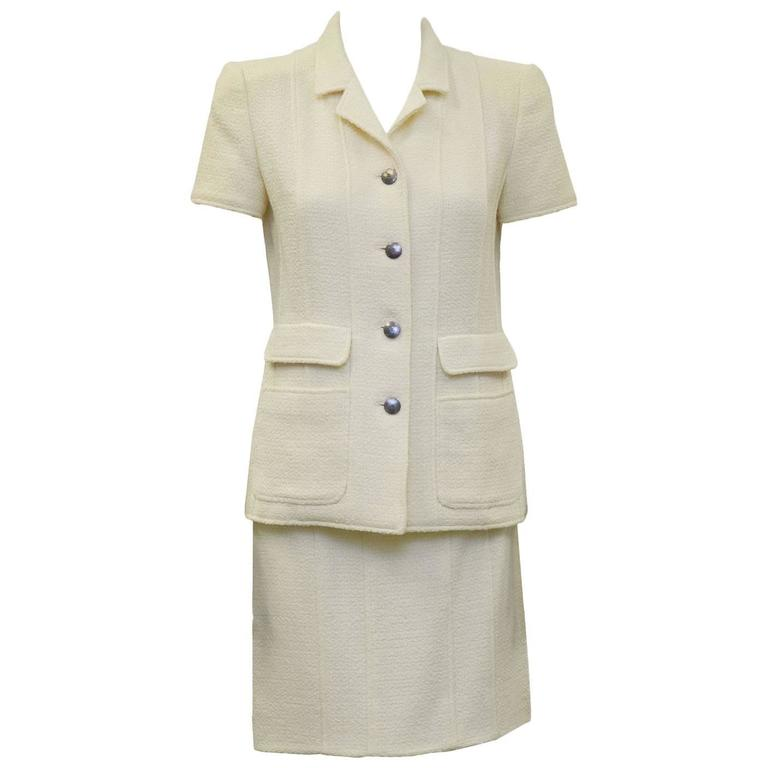 1998 Spring Chanel Cream Short Sleeve Suit