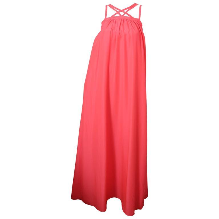 Escada Sport Neon Pink Maxi Dress W/ Criss-Cross Straps