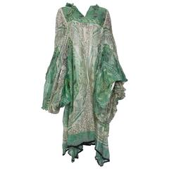 Rare 1969 Zandra Rhodes Ivory and Green Silk Tunic - Sold As Is