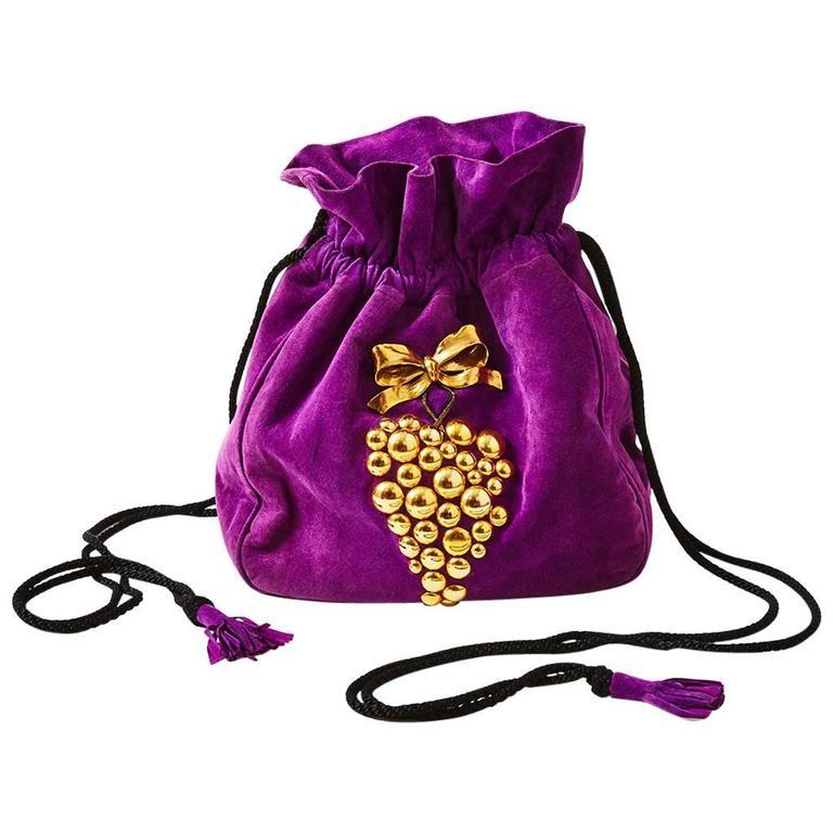 Yves Saint Laurent Suede Drawstring Bag For Sale at 1stdibs 0da3de04c8ee6
