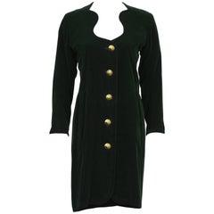 Late 1980s Hunter Green YSL/ Yves Saint Laurent Velvet Dress