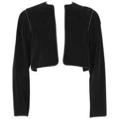 1970's Yves Saint Laurent/YSL Black Corduroy Bolero Jacket