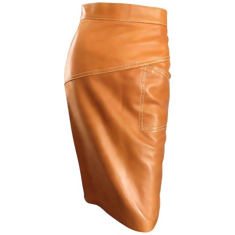 ESCADA  Margaretha Ley Vintage High Waist Leather Saddle Cognac Tan Pencil Skirt 1