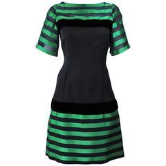 PIERRE BALMAIN HAUTE COUTURE Green & Black Sheer Stripe Dress with Velvet Size 6