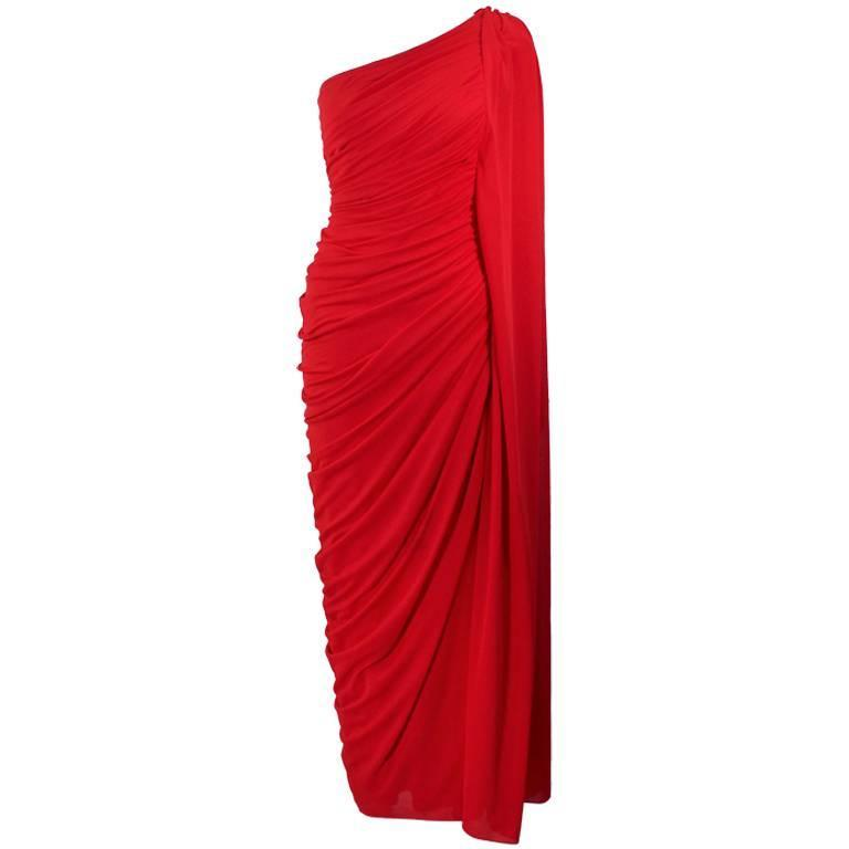 ESTEVEZ Red Draped Gathered Jersey Goddess Gown Size 8 10 For Sale