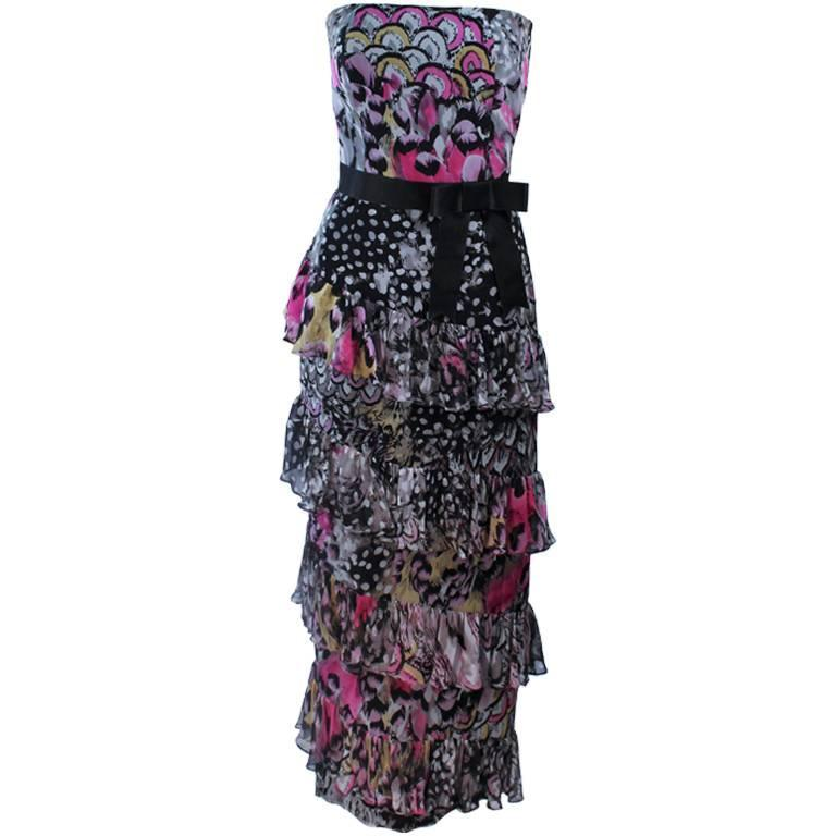 DAVID HAYES Two Piece Ruffled Gown and Pink Silk Jacket Size 4 6
