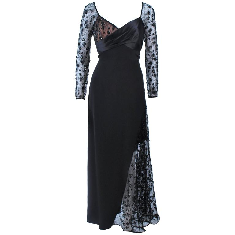 TRAVILLA Black Silk Gown with Bead Lace Size 8