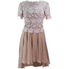 TRAVILLA Floral Lace Cocktail Dress with Chiffon Skirt Size 4 6