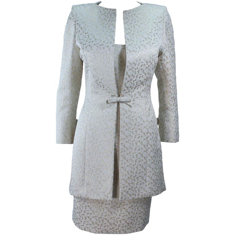 TRAVILLA 2pc White and Gold Metallic Brocade Silk Dress and Coat Ensemble Size 8