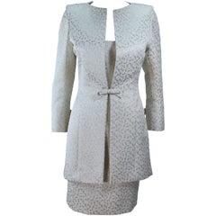 TRAVILLA 2pc White and Gold Metallic Brocade Silk Dress and Coat Ensemble Size 8