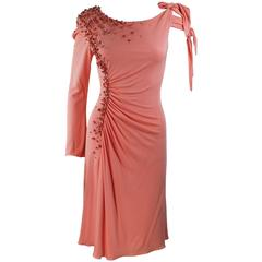 MARK ZUNINO Coral Jersey Cocktail Dress with Coral Beading Applique Size 6 8