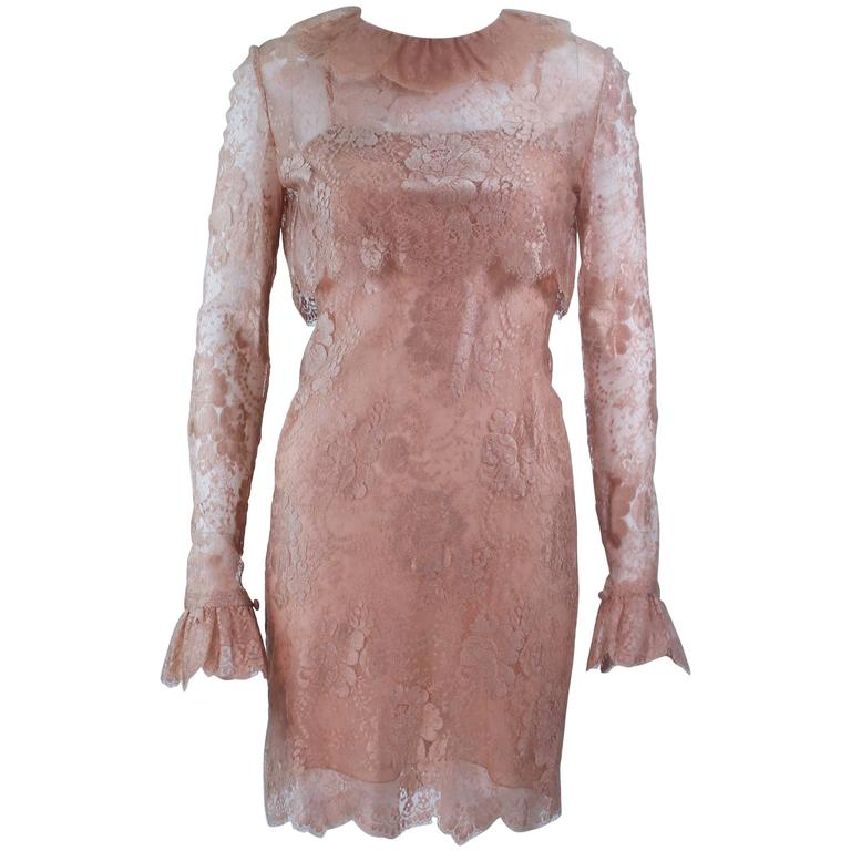 BILL BLASS Nude Peach Lace Cocktail Dress with Over Blouse Size 6 1