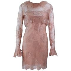 BILL BLASS Nude Peach Lace Cocktail Dress with Over Blouse Size 6