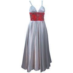 ELEANORA GARNETT 1950's Silver Silk Gown with Red Embellished Waist Size 2