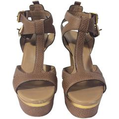 Gucci Tan Platform Strap Sandals