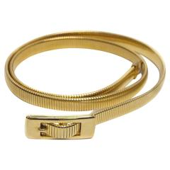 70s Gold Stretch Disco Belt with Buckle Detail