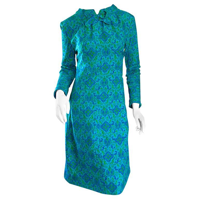 Vintage Yen Yen of Malaya 1960s Teal Blue + Green Long Sleeve A - Line 60s Dress For Sale
