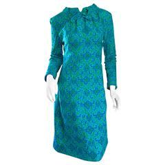 Vintage Yen Yen of Malaya 1960s Teal Blue + Green Long Sleeve A - Line 60s Dress