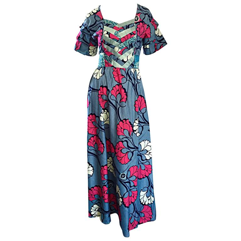 Chic 1970s Vintage Blue and Pink Cotton + Silk Brocade Belted 70s Maxi Dress  For Sale