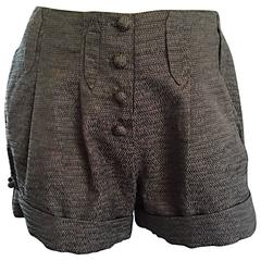 ZAC POSEN Runway Sample Spring 2006 Dark Green + Grey Pleated Cuffed Shorts