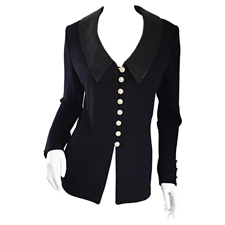 VINTAGE St John Black Evening Knit Sweater Jacket Cardigan w/ Removable Collar 6