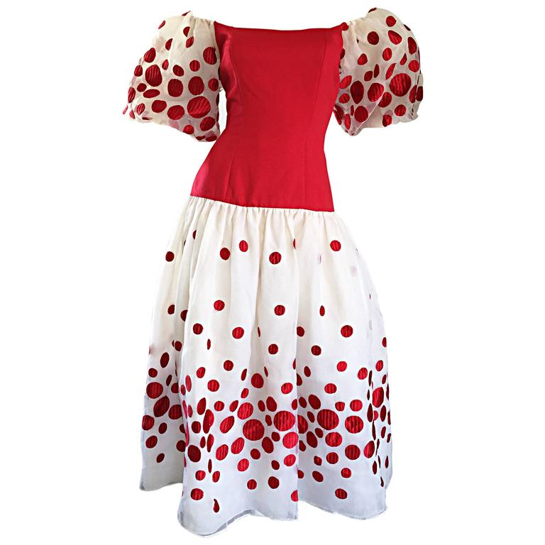 Victor Costa Vintage Red and White Polka Dot Balloon Sleeve Chiffon Dress Size 6