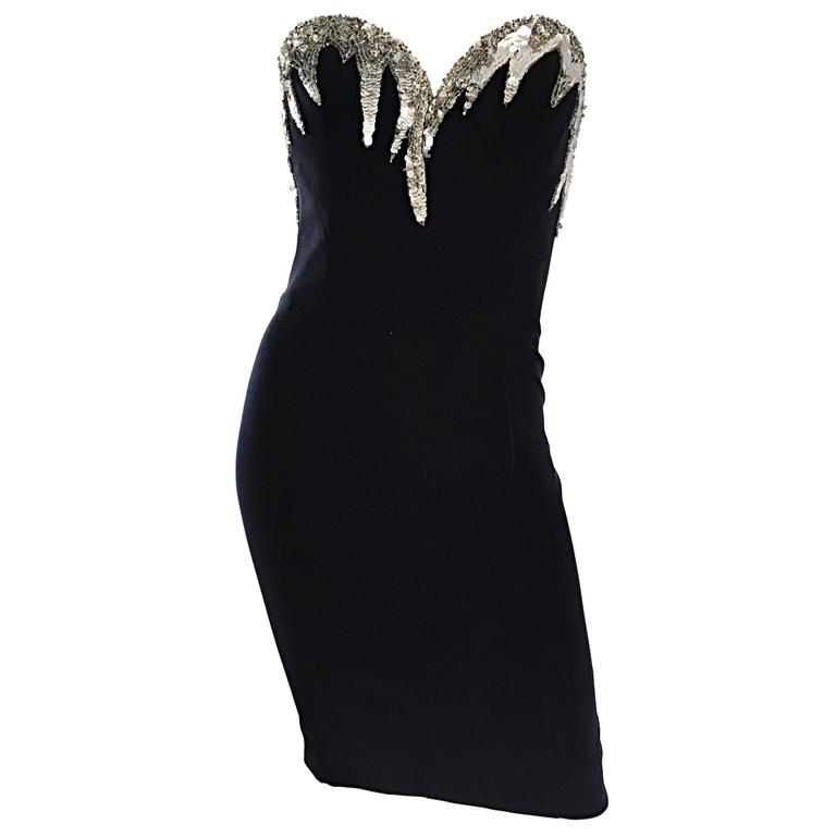 Bob Mackie Vintage Black and Silver Sequin Bodycon Strapless Mini Dress Size 4 For Sale