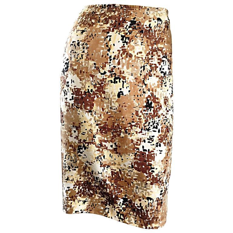PRADA Fall 2001 Brown Cream Tan Silk ' Splatter ' Print High Waist Pencil Skirt